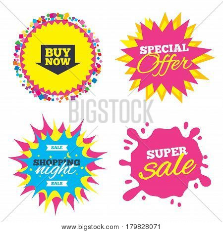 Sale splash banner, special offer star. Buy now sign icon. Online buying arrow button. Shopping night star label. Vector