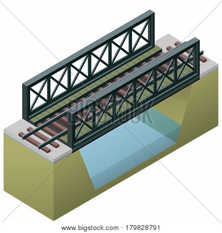 Vector train bridge in isometric 3d perspective isolated on white background. Industrial transportation building. Metallic architecture. Railway bridge with rail. Assembled riveted bridge construction