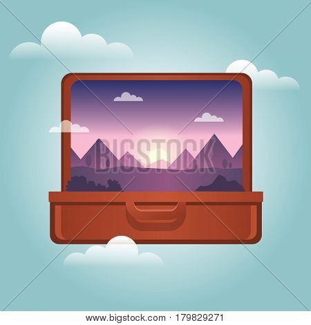 Open Suitcase With A Mountains Inside. Traveling And Tourism. Vector Illustation