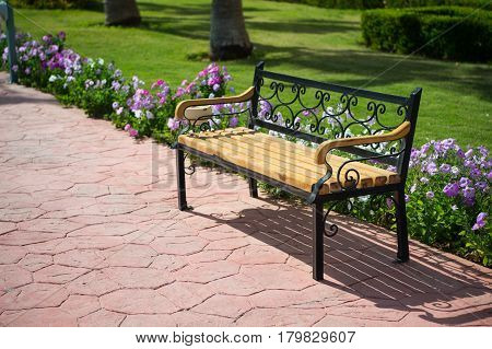 empty wooden bench on pavers road near green grass and summer or spring beautiful flowers in park or garden sunny outdoor on natural background. furniture and exterior. relax and privacy solitude