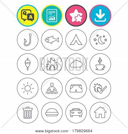 Report, download and star signs. Camping and fishing icons. Tourist tent, fire and match symbols. Coffee cup and hamburger. Car and house. Fish, hook and float bobber thin outline signs. Vector