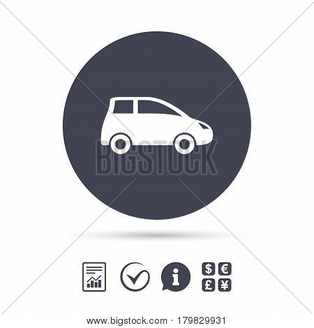 Car sign icon. Hatchback symbol. Transport. Report document, information and check tick icons. Currency exchange. Vector