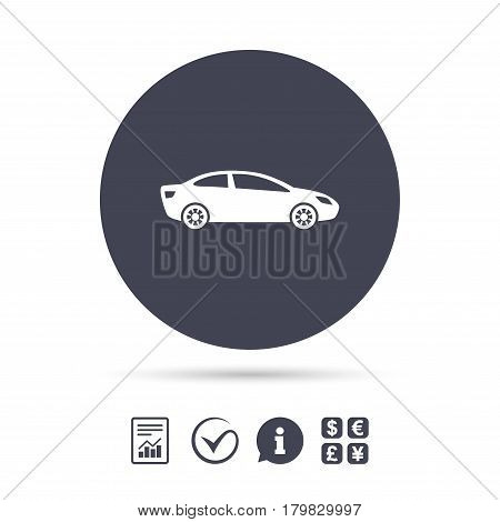 Car sign icon. Sedan saloon symbol. Transport. Report document, information and check tick icons. Currency exchange. Vector