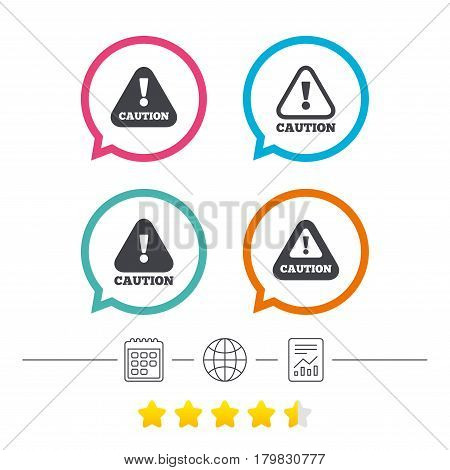 Attention caution icons. Hazard warning symbols. Exclamation sign. Calendar, internet globe and report linear icons. Star vote ranking. Vector