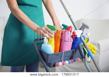 Woman with cleaning agents and supplies at home