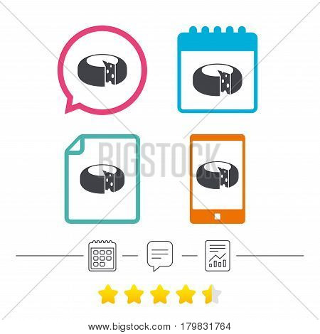 Cheese wheel sign icon. Sliced cheese symbol. Round cheese with holes. Calendar, chat speech bubble and report linear icons. Star vote ranking. Vector