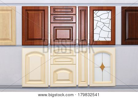 Decorative wooden kitchen cabinet doors on wall display