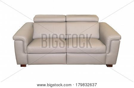 Modern beige leather couch isolated with clipping path included