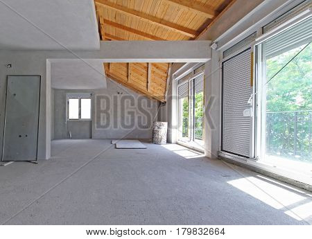 Empty new house interior under renovation work