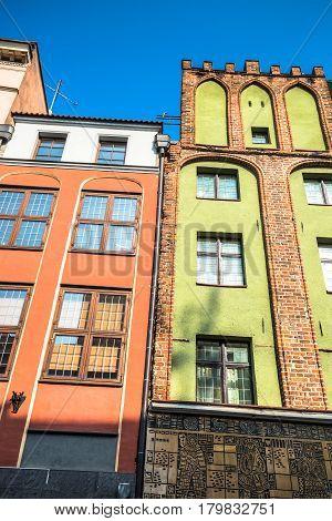 City of Torun in Poland historic tenement houses