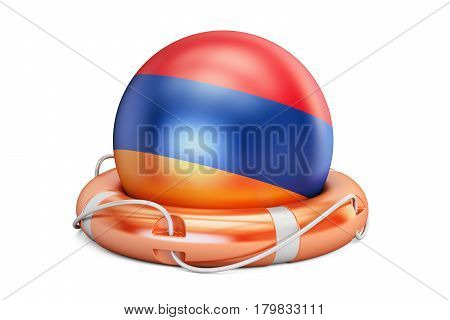 Lifebelt with Armenia flag safe help and protect concept. 3D rendering
