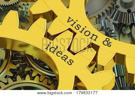 Vision & ideas concept on the gearwheels 3D rendering
