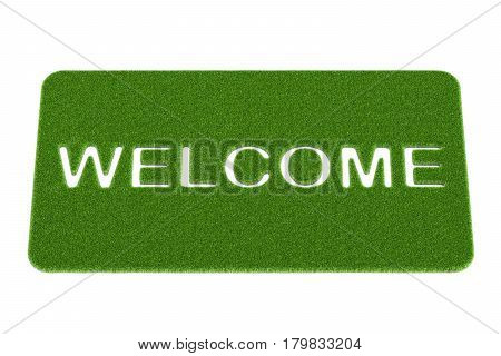 Welcome grass doormat. 3D rendering isolated on white background