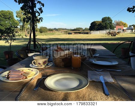 Cozy breakfast served with a view of the farm