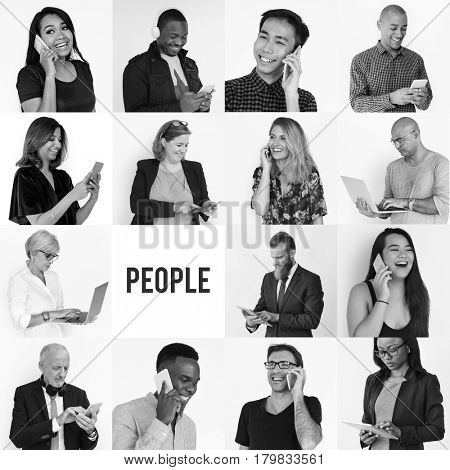 People collection collage using digital devices techie mobility