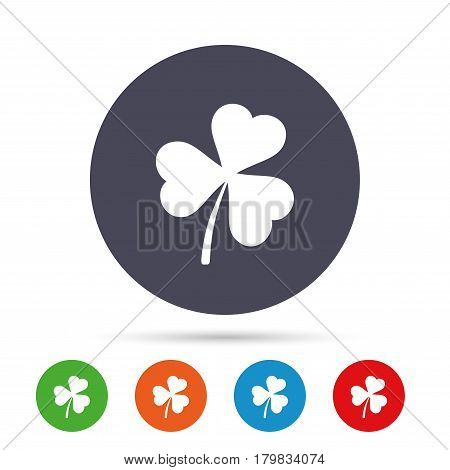 Clover with three leaves sign icon. Trifoliate clover. Saint Patrick trefoil symbol. Round colourful buttons with flat icons. Vector