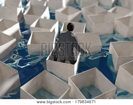 Man floating in a box, 3d illustration