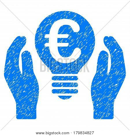 Grunge Euro Patent Care rubber seal stamp watermark. Icon symbol with grunge design and dirty texture. Unclean vector blue sign.