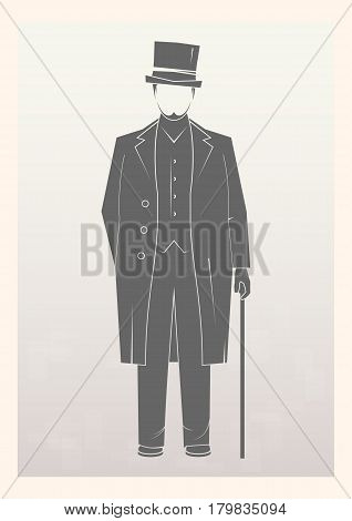Gentleman. A man in a hat isolated on background. Vector illustration.