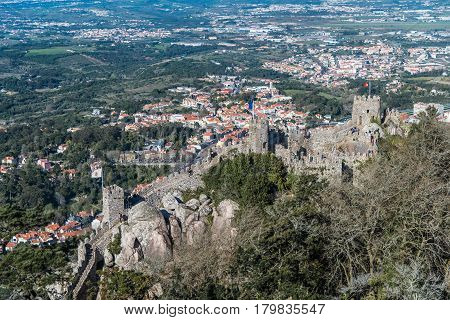Aerial view of the Castle of the Moors (Castelo dos Mouros), Sintra, Portugal