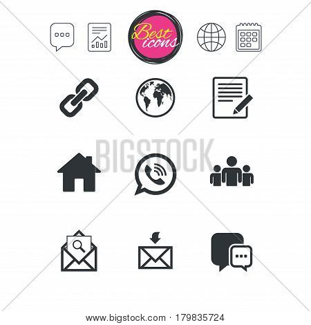 Chat speech bubble, report and calendar signs. Communication icons. Contact, mail signs. E-mail, call phone and group symbols. Classic simple flat web icons. Vector