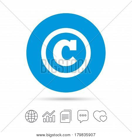 Copyright sign icon. Copyright button. Copy files, chat speech bubble and chart web icons. Vector