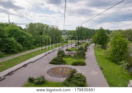 Aerial view of Silesia Park from cable car in Chorzow Poland