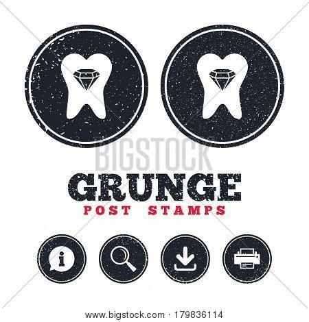 Grunge post stamps. Tooth crystal icon. Tooth jewellery sign. Dental prestige symbol. Information, download and printer signs. Aged texture web buttons. Vector