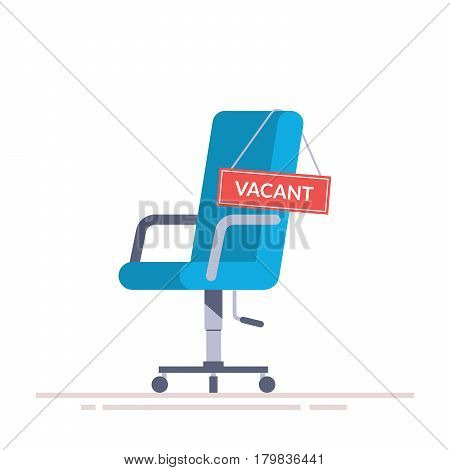 Comfortable office chair with a vacancy sign. Business hiring and recruiting abstract concept. Search for a new employee. Flat vector illustration isolated on white background