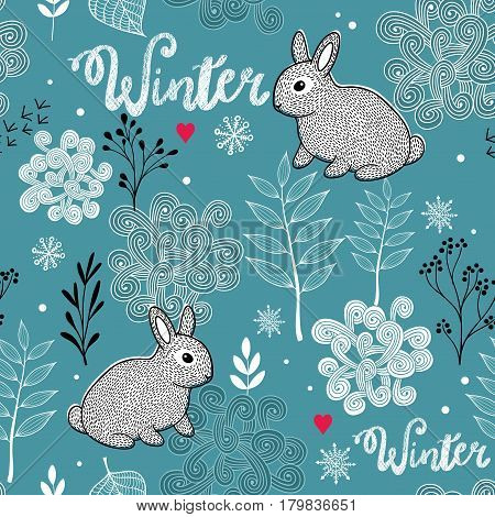 Seamless winter pattern of frozen forest and small rabbit. Vector endless background.