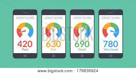 Collection smartphones with credit score app on the screen in flat style. Financial information about the client. Vector illustration isolated on white background