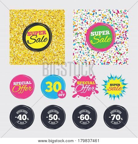 Gold glitter and confetti backgrounds. Covers, posters and flyers design. Sale discount icons. Special offer stamp price signs. 40, 50, 60 and 70 percent off reduction symbols. Sale banners. Vector