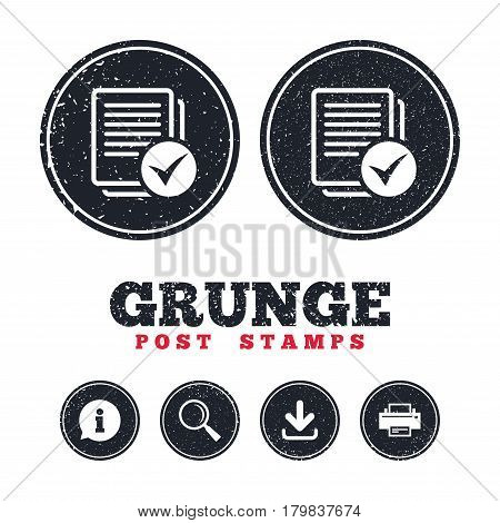 Grunge post stamps. Text file sign icon. Check File document symbol. Information, download and printer signs. Aged texture web buttons. Vector
