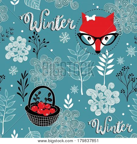 Seamless winter pattern of frozen forest and hipster fox. Vector endless background.