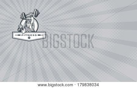 Business card showing Illustration of a berserker a champion Norse warrior wearing pelt of bear skin lifting barbell and kettlebell viewed from front set inside circle with the word text Fitness inside banner done in retro style.