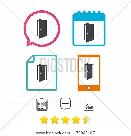 Door sign icon. Enter or exit symbol. Internal door. Calendar, chat speech bubble and report linear icons. Star vote ranking. Vector