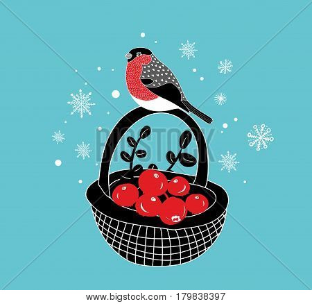 Cartoon basket with red berries an winter bullfinch on it. Vector hand drawn illustration.