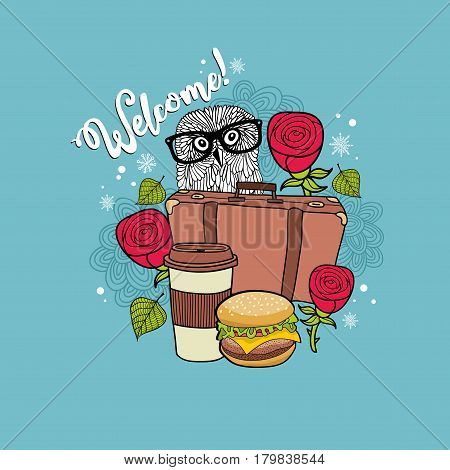 Colorful print for the road cafe. Vector illustration with smart owl in eyeglasses and fast food.