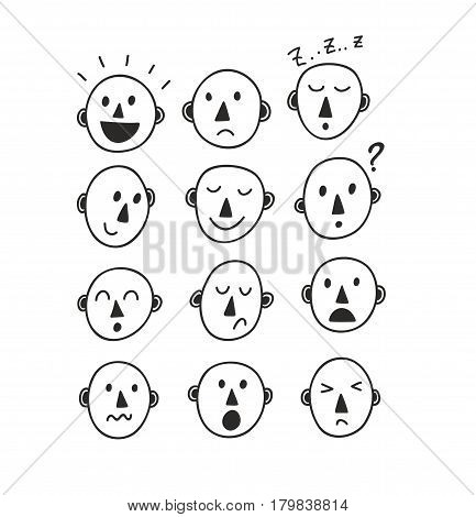 Set of funny cartoon faces. Vector illustration of doodle people emotions.