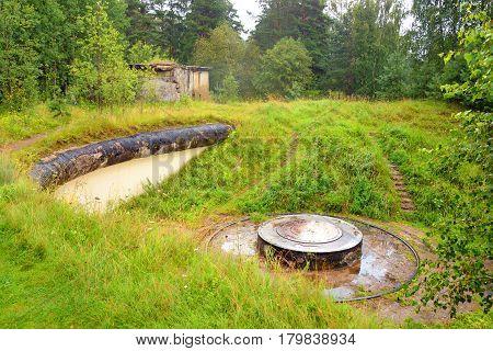 The ruins of old artillery batteries of Krasnaya Gorka in Leningrad region Russia.