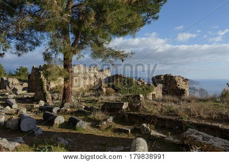 Collonade Street In Ancient City Of Syedra In Alanya Province Of