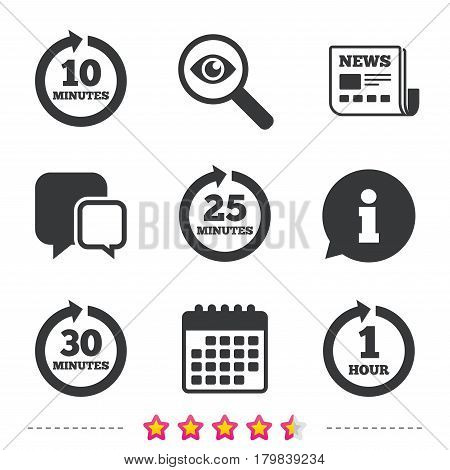 Every 10, 25, 30 minutes and 1 hour icons. Full rotation arrow symbols. Iterative process signs. Newspaper, information and calendar icons. Investigate magnifier, chat symbol. Vector
