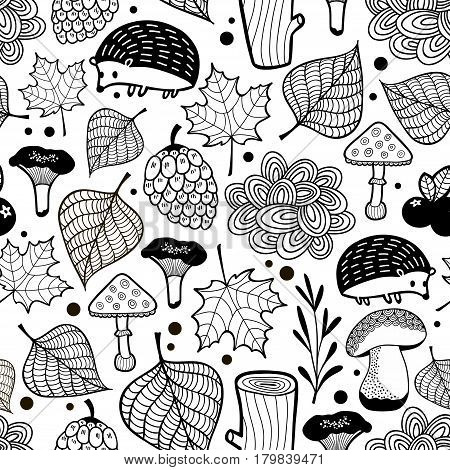 Hedgehog seamless pattern with nature elements. Vector illustration.
