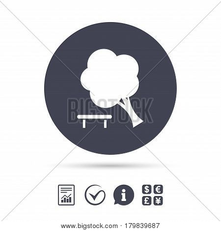 Falling tree sign icon. Caution break down tree symbol. Report document, information and check tick icons. Currency exchange. Vector