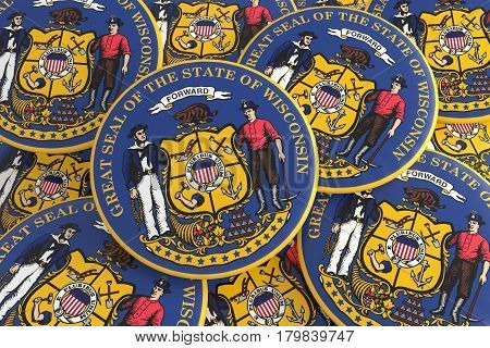 US State Buttons: Pile of Wisconsin Seal Badges 3d illustration