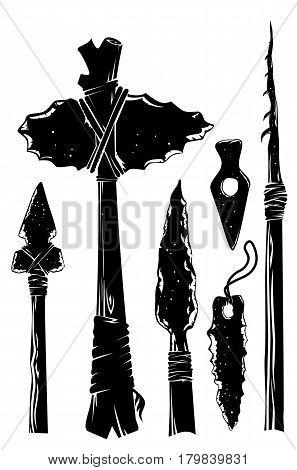 vector set stone age tools of primitive man
