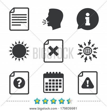 File attention icons. Document delete symbols. Question mark sign. Information, go to web and calendar icons. Sun and loud speak symbol. Vector