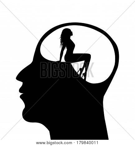 symbolic illustration of a woman in a man's head