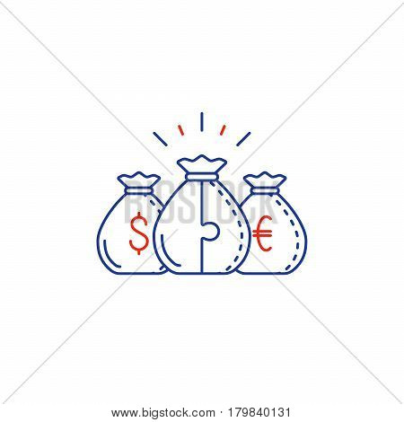 Financial diversification concept, budget planning, savings account, dollar euro money bags, dividends vector mono line icon