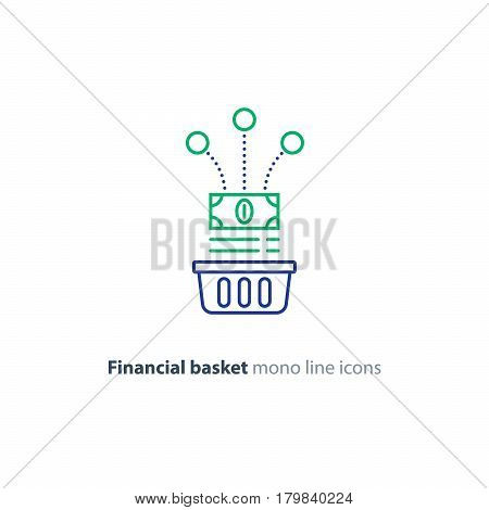 Investment basket, budget planning, fund rising, savings account, financial investment strategy concept, income growth, cash back, vector mono line icon